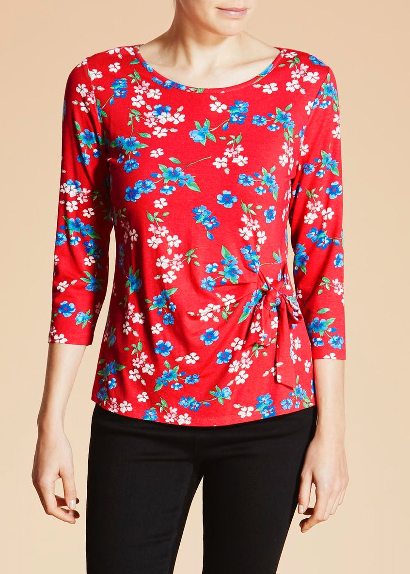 Floral Side Tie Top