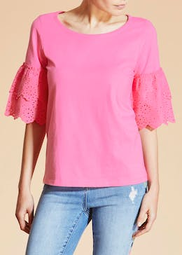 Falmer Schiffley Lace Ruffle Top