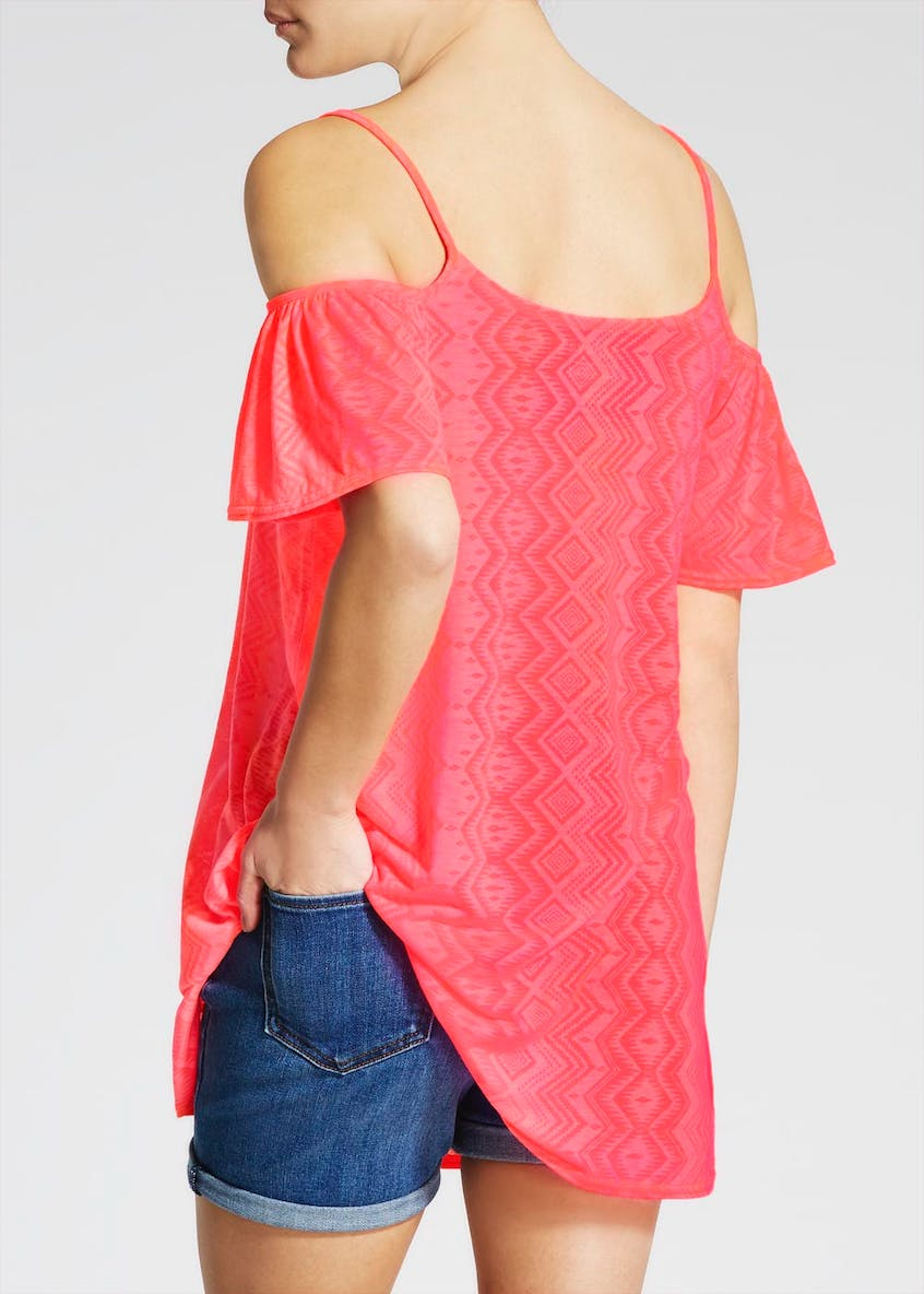 Cold Shoulder Burnout Tunic Top