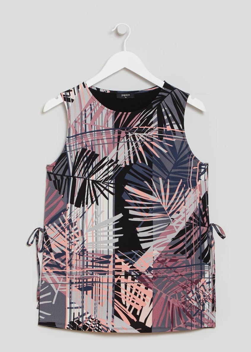 Palm Print Tie Side Vest Top