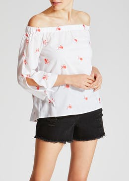 Floral Embroidered Bardot Top