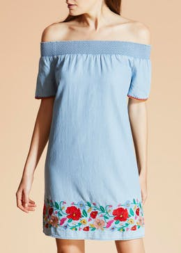 Falmer Embroidered Denim Bardot Dress