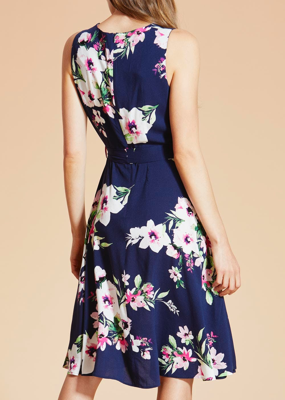 Floral Viscose Midi Dress – Navy – Matalan