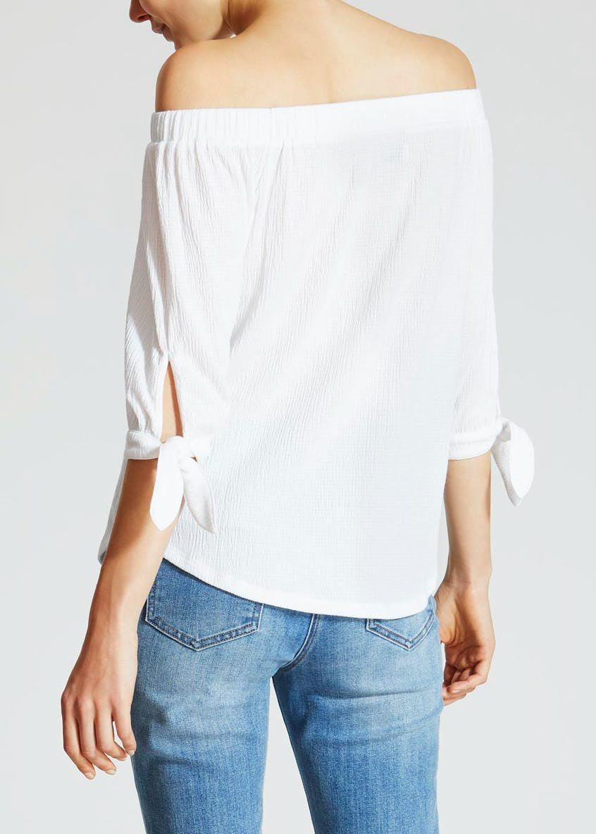 Textured Tie Sleeve Bardot Top