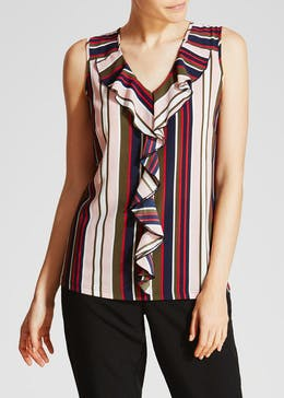 Stripe Frill Front Vest Top