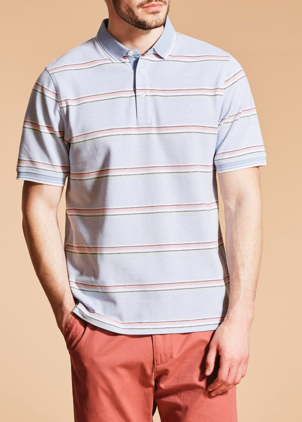 polo in the city perth mens red and white striped polo shirt