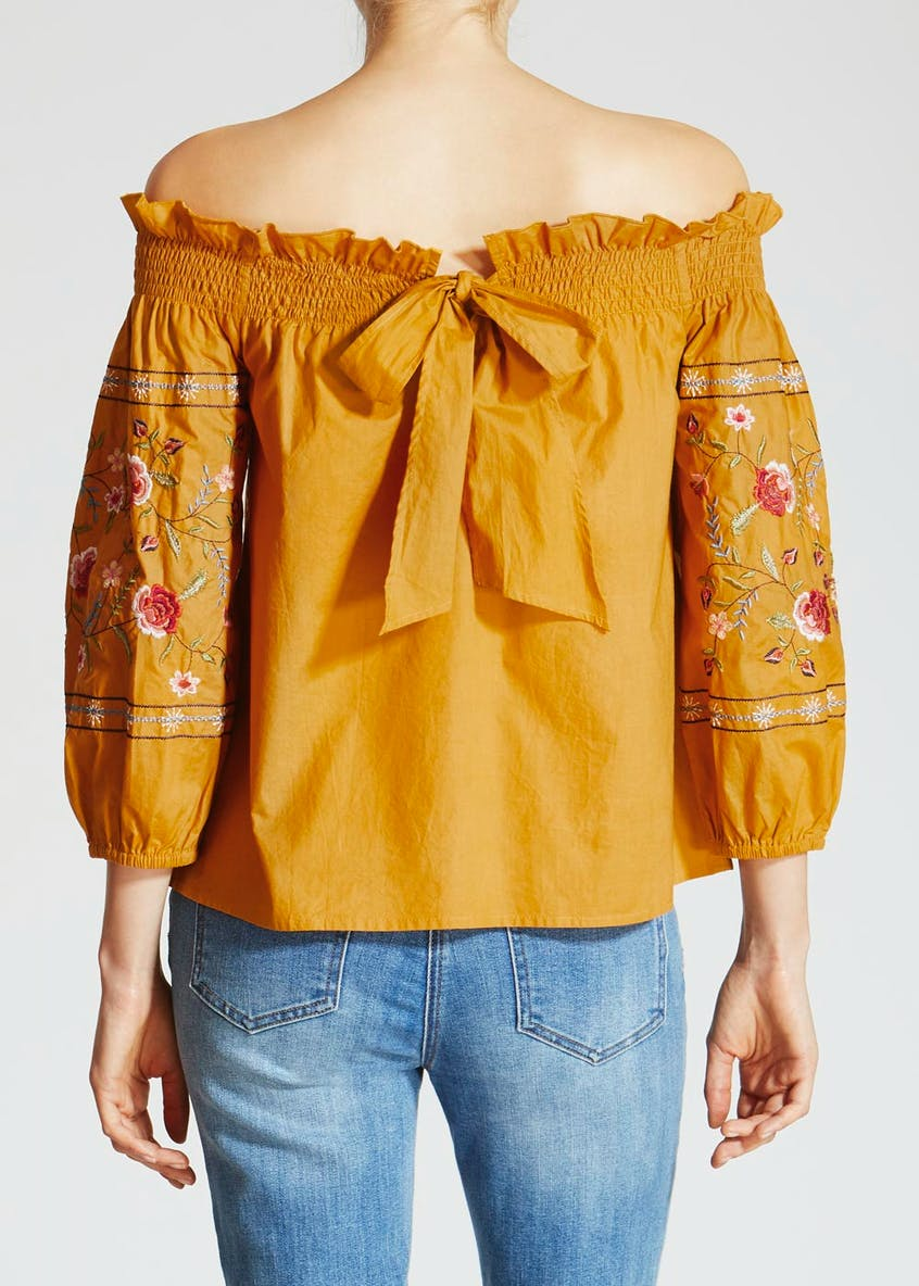 Embroidered Sleeve Bardot Top