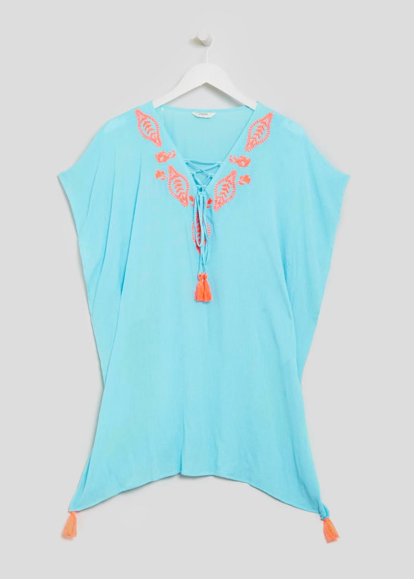 Embroidered Contrast Tassel Kaftan