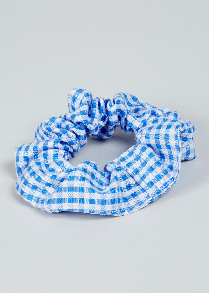 Girls Knit Collar Gingham School Dress & Scrunchie (3-13yrs)