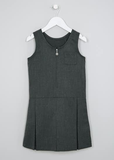 Girls Grey Zip Front Pleated School Pinafore (3-9yrs)