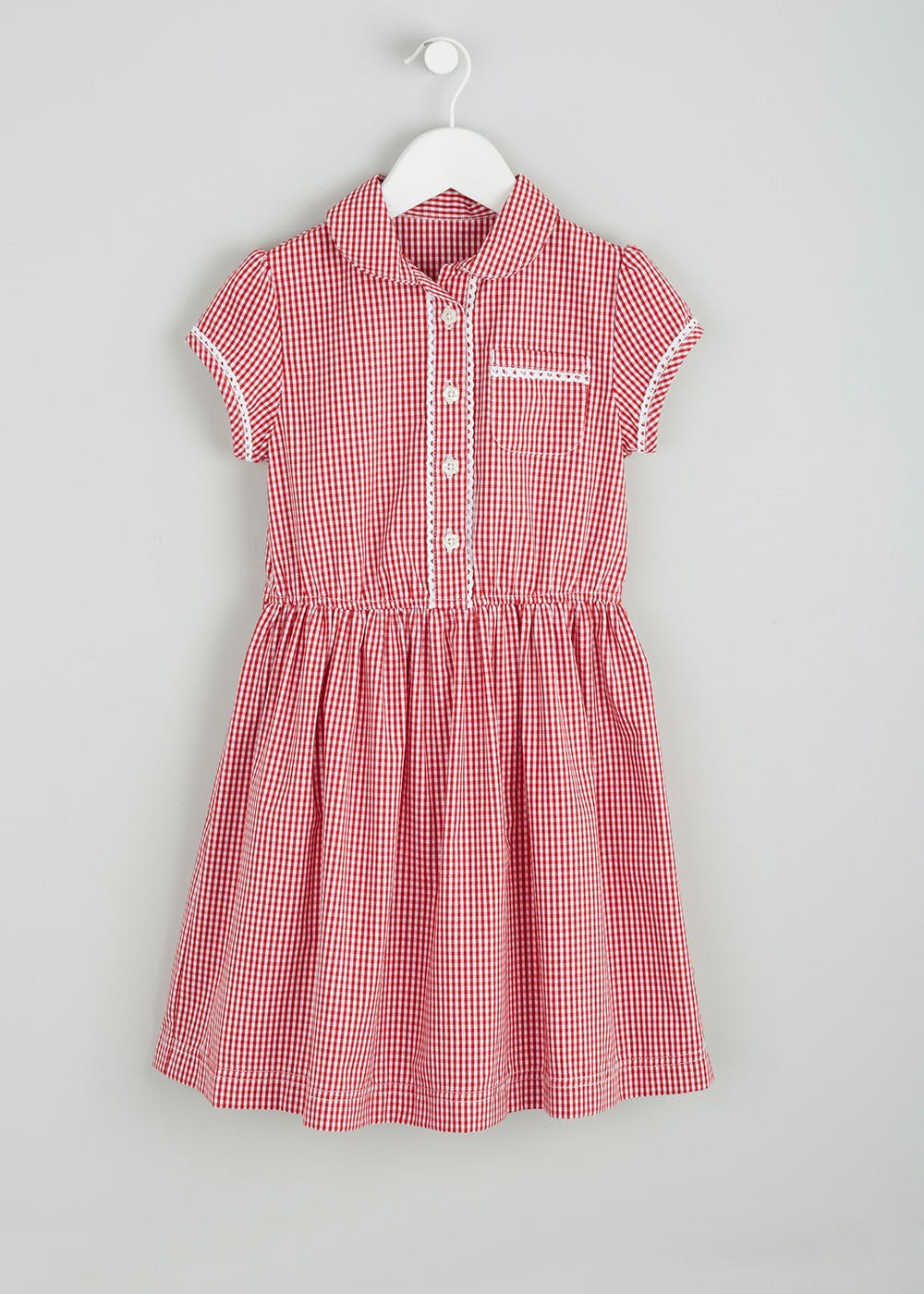 Girls Gingham School Dress & Scrunchie (3-13yrs) – Red – Matalan