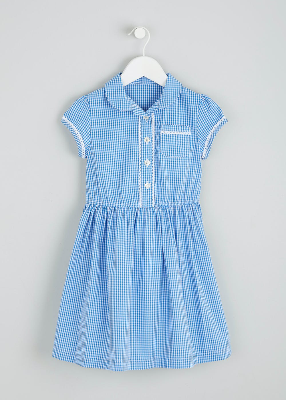 9a8182af0 Girls Gingham School Dress   Scrunchie (3-13yrs) – Blue – Matalan