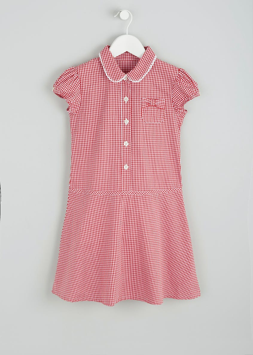 Girls Flippy Gingham School Dress & Headbands (4-12yrs)