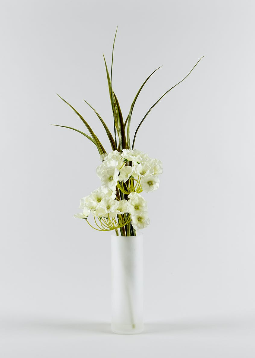 Hydrangeas in Tall Frosted Vase (45cm)