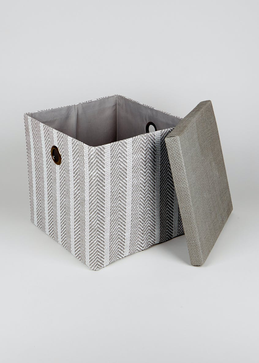 Stripe Foldable Fabric Storage Box (33cm x 33cm x 31cm)