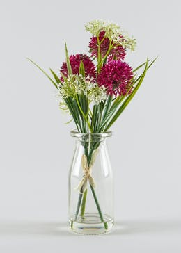Floral Arrangement in Glass Bottle Vase (25cm x 7cm)