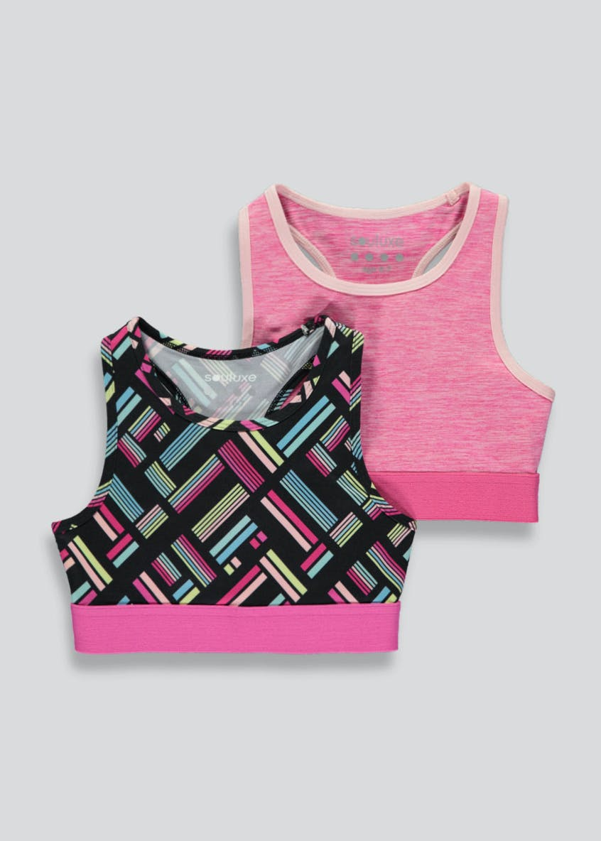 Girls Souluxe 2 Pack Tutti Sports Crop Tops (4-13yrs)
