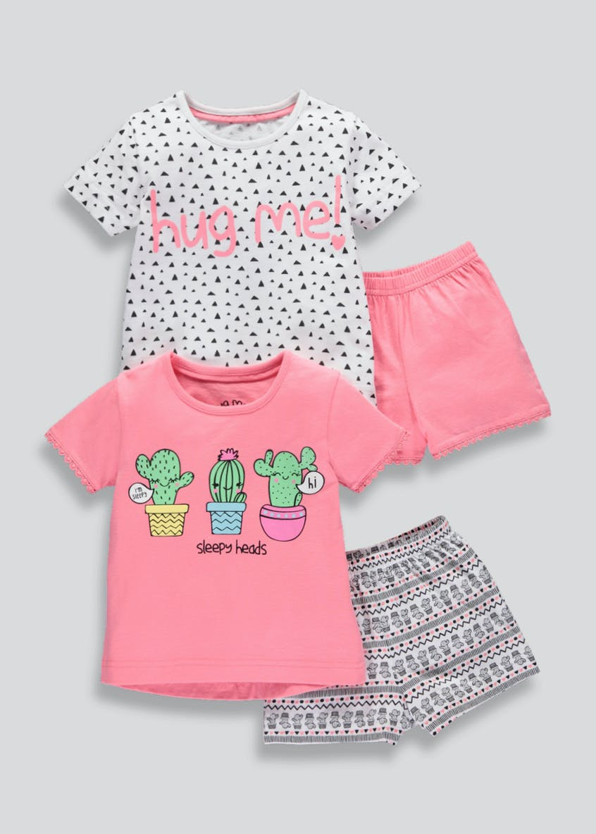 Girls 2 Pack Cactus Short Pyjamas (9mths-5yrs)