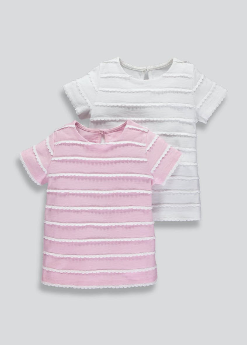 Girls 2 Pack Scalloped Trim T-Shirts (3mths-6yrs)