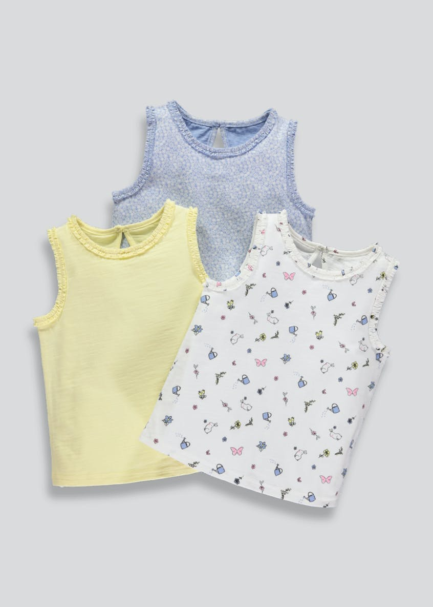Girls 3 Pack Vests (3mths-6yrs)