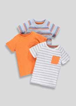 Boys 3 Pack Stripe Short Sleeve T-Shirts (3mths-6yrs)