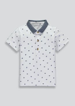 Boys Premium Boat Print Polo Shirt (3mths-6yrs)