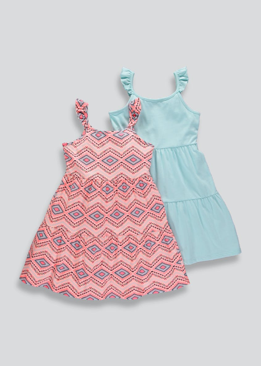Girls 2 Pack Frill Dresses (4-13yrs)