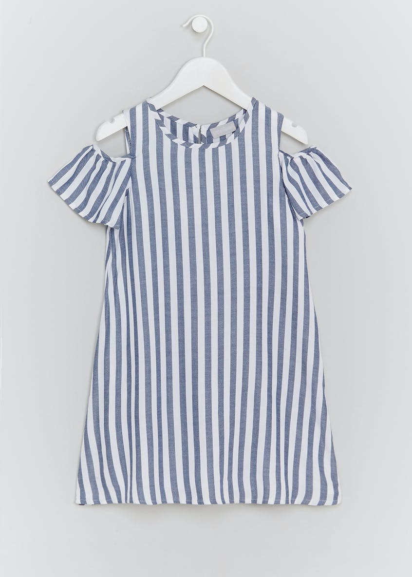 Girls Stripe Cold Shoulder Dress (4-13yrs)