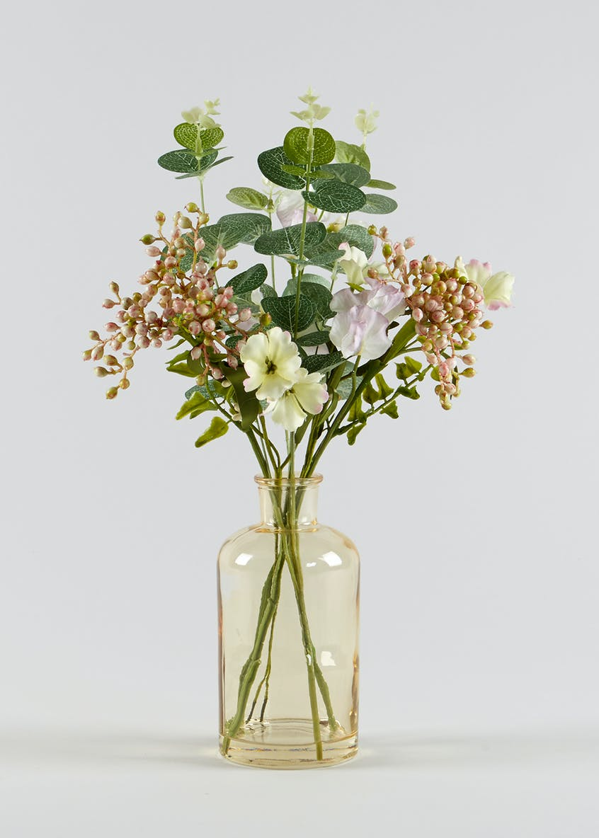 Sweet Pea Eucalyptus & Berry Arrangement in Glass Bottle (30cm)