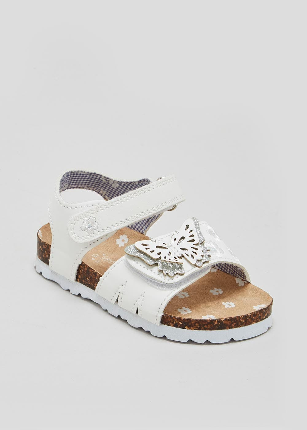 3681405e9049 Girls Butterfly Footbed Sandals (Younger 4-12) – White – Matalan