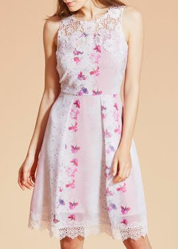 FWM Floral Lace Trim Swing Dress