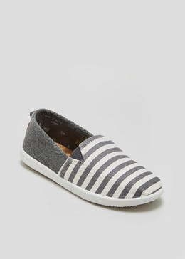 Boys Stripe Slip On Canvas Pumps (Younger 10-Older 6)