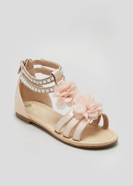 Girls Flower & Pearl Occasion Sandals (Younger 10-Older 5)