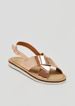 Wide Fit Cross Strap Sandals