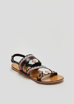 Wide Fit Real Leather Beaded Sandals