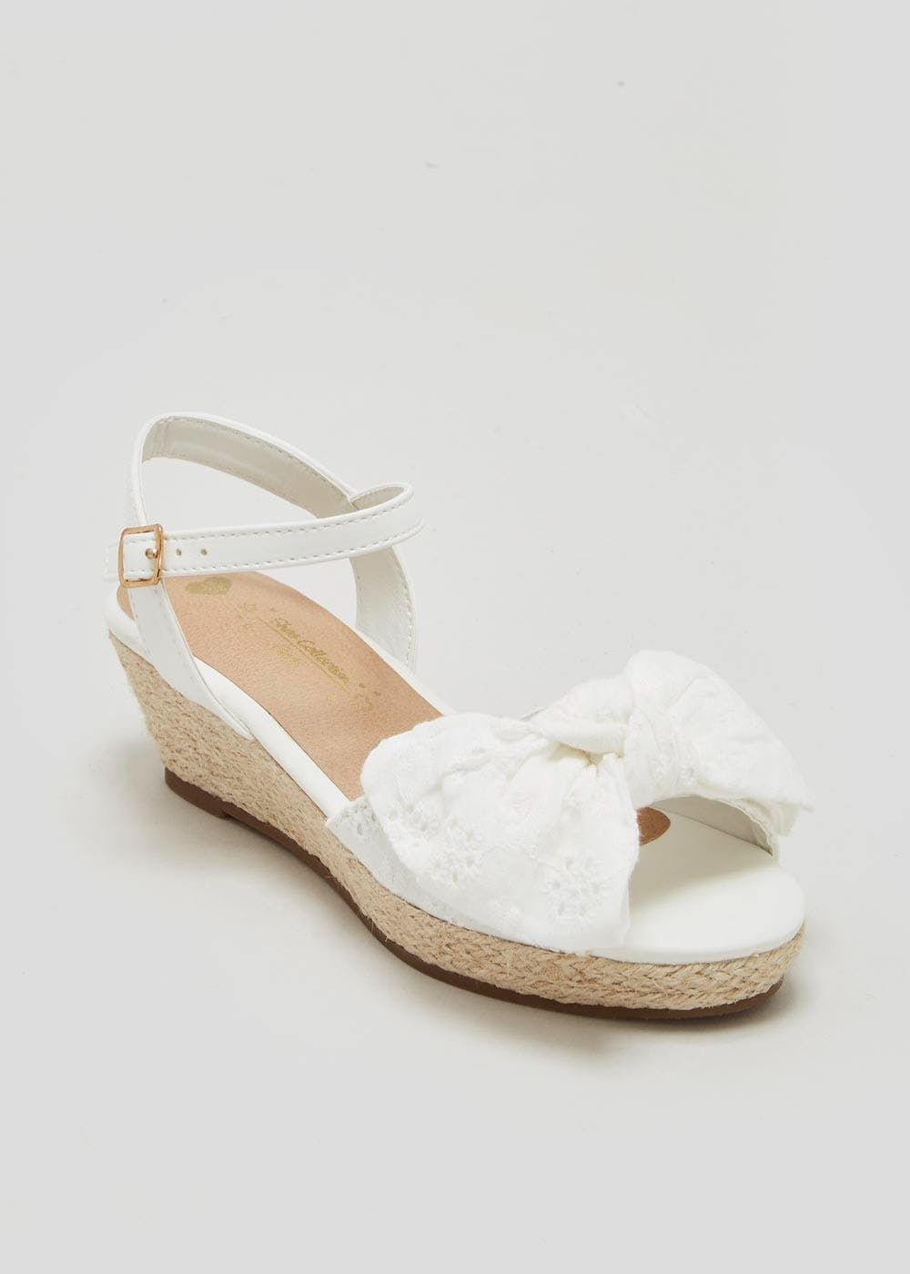ead809e6078 Girls Broderie Wedge Sandals (Younger 10-Older 5) – White – Matalan