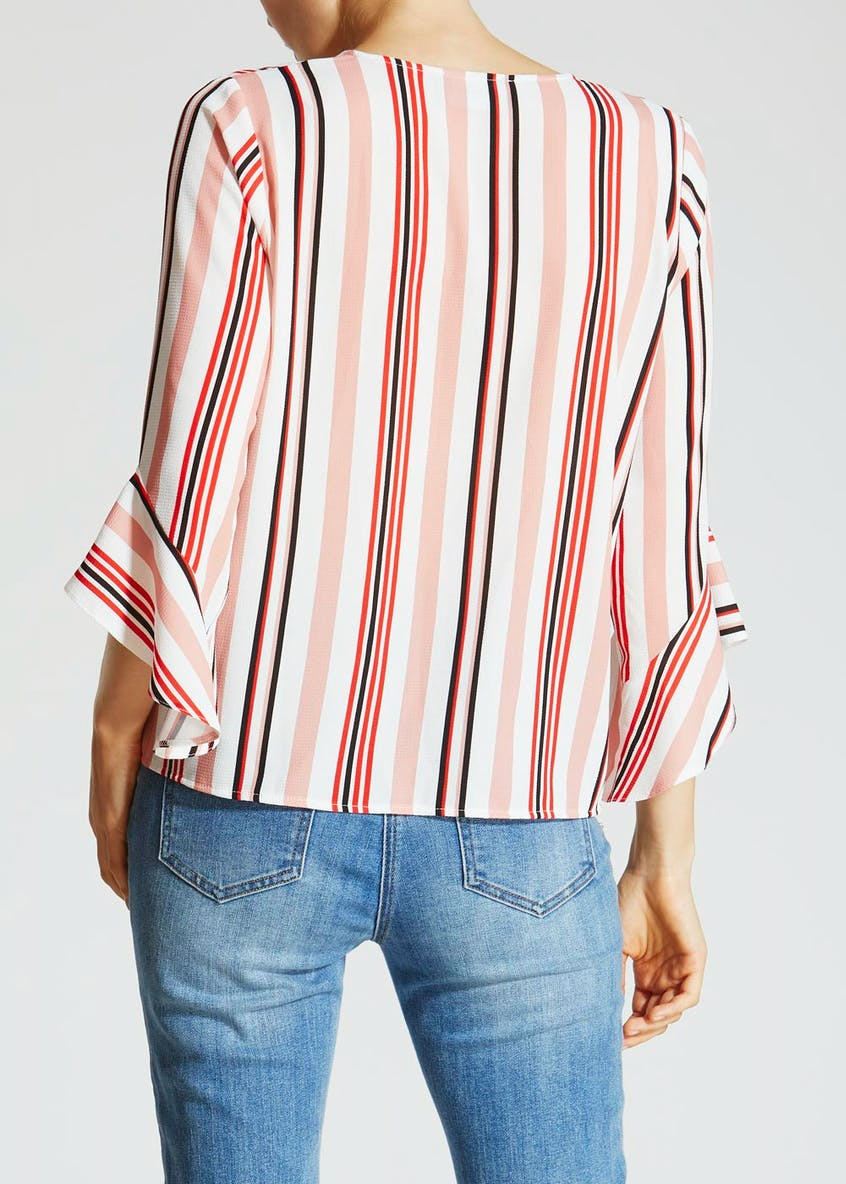 Stripe Zip Front Bell Sleeve Blouse
