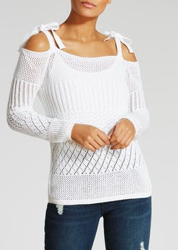Open Stitch Cold Shoulder Jumper