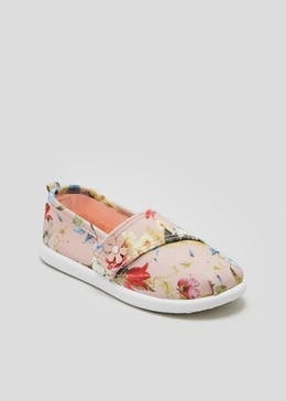 Girls Floral Slip On Canvas Shoes (Younger 4-12)