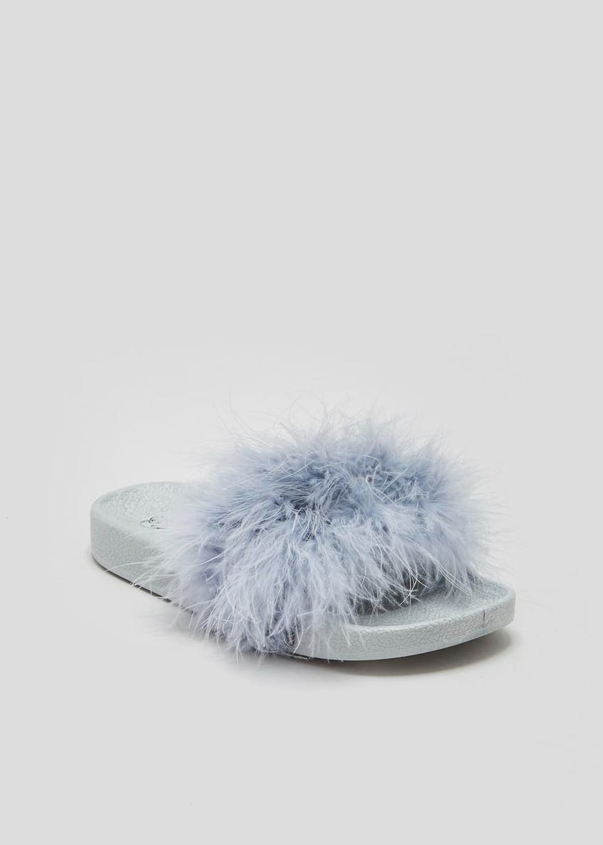 Girls Fluffy Feather Faux Fur Sliders (Younger 10-Older 5)