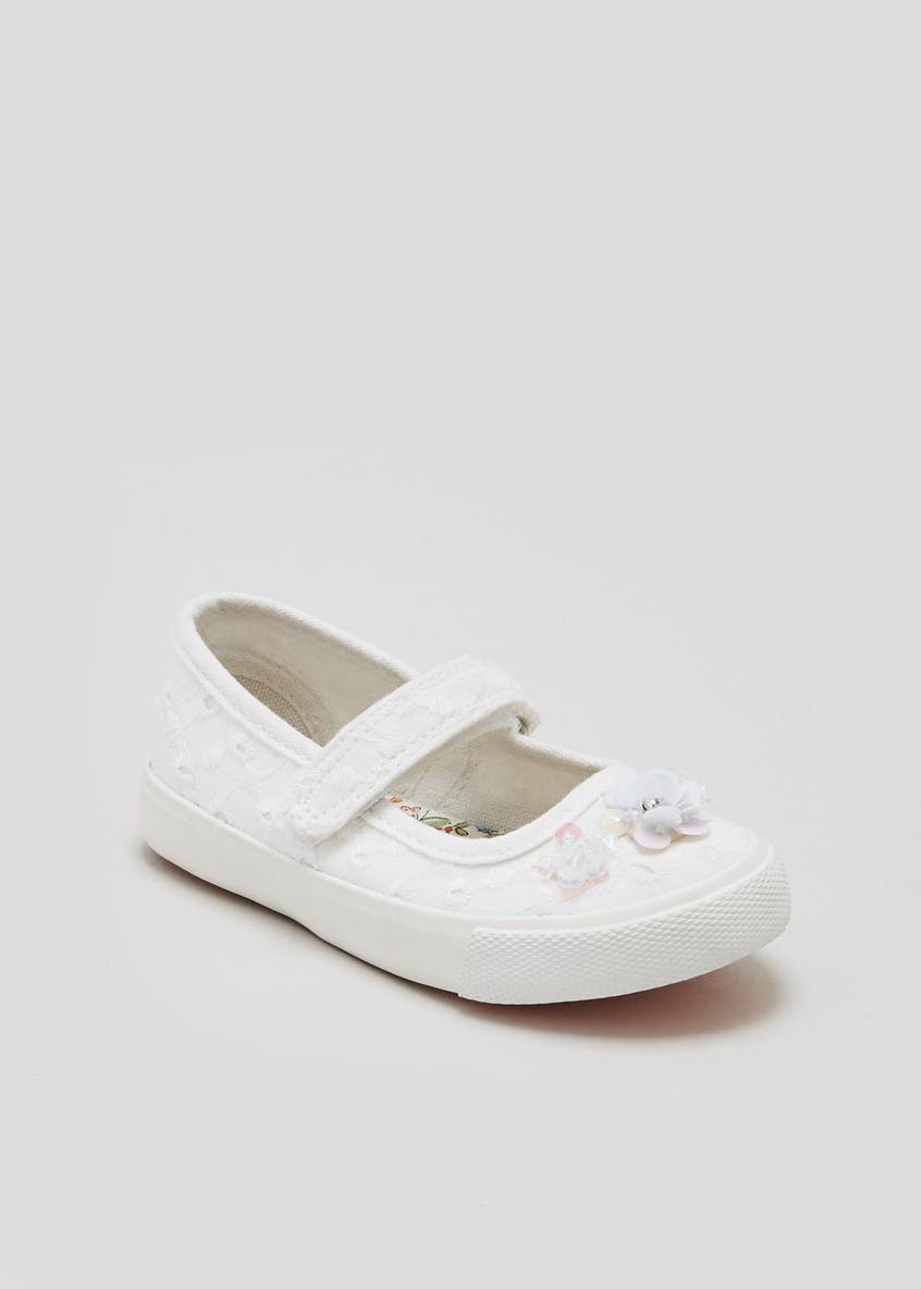 Girls Riptape Strap Canvas Pumps (Younger 4-12)