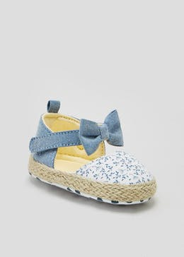 Girls Soft Sole Espadrille Baby Shoes (Newborn-18mths)