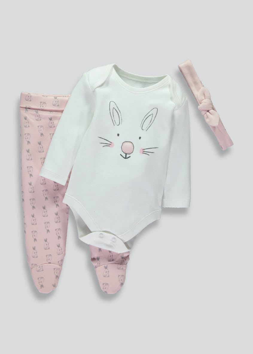 Girls Bunny Bodysuit Leggings & Headband Set (Tiny Baby-9mths)