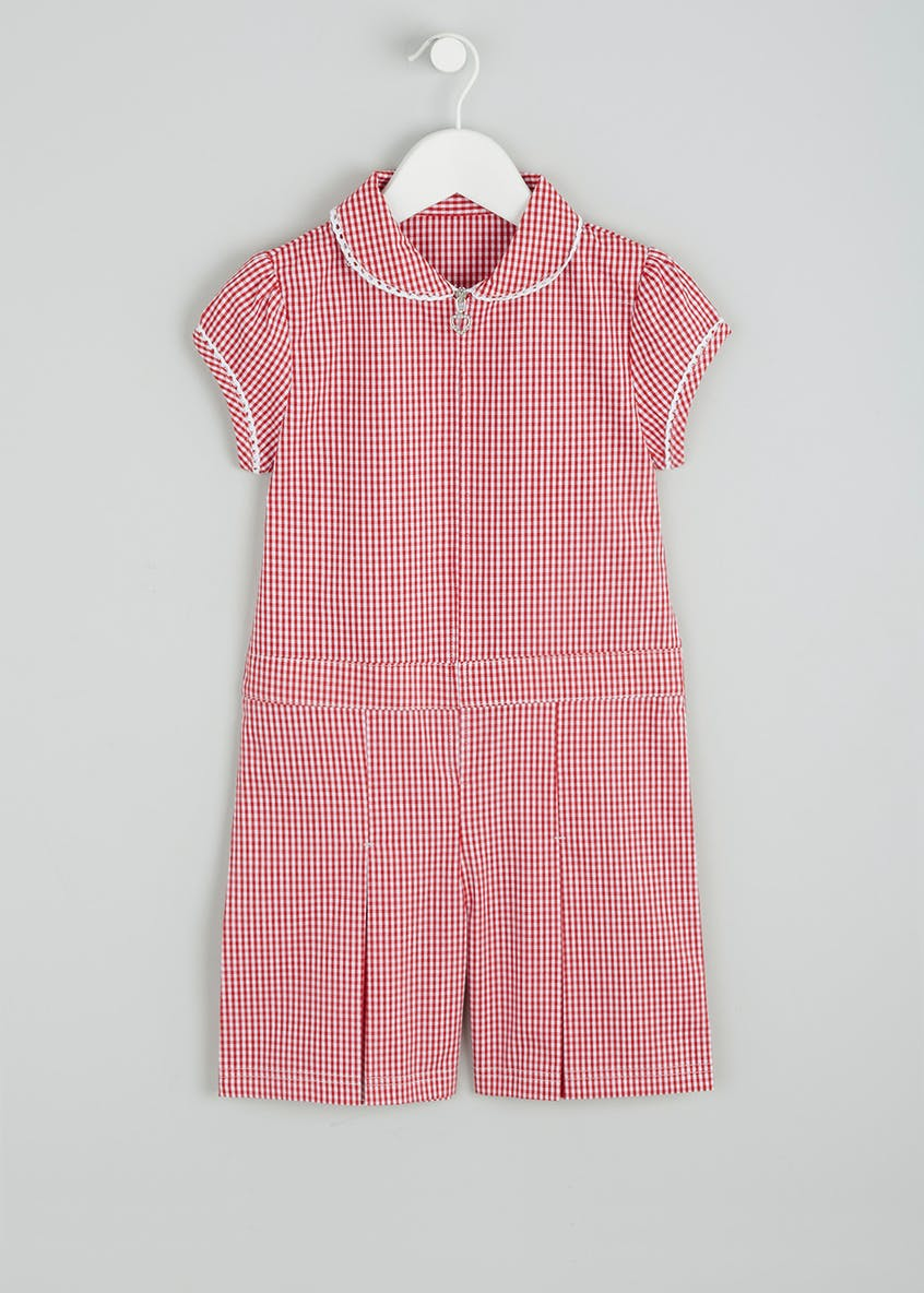 Girls Gingham School Playsuit & Scrunchie Set (4-13yrs)