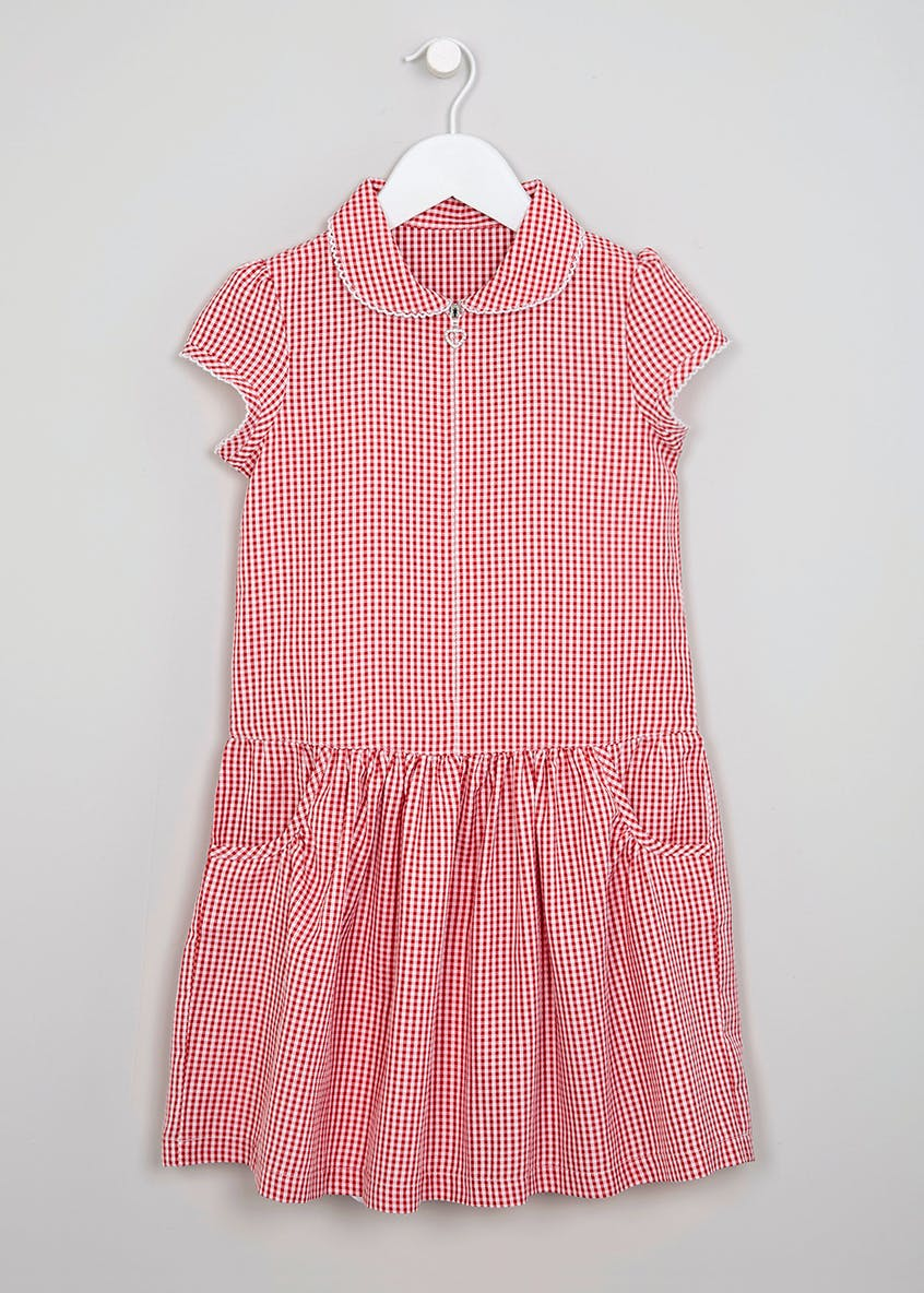 Girls Drop Waist Gingham School Dress & Hair Set (3-9yrs)