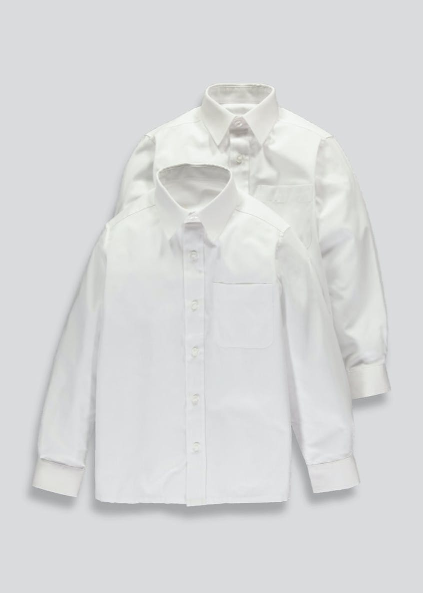 Boys 2 Pack Long Sleeve School Blouses (4-16yrs)