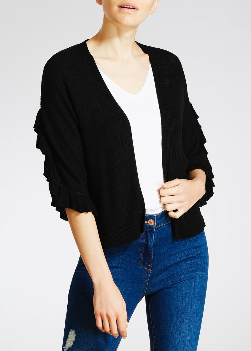 Frill Ribbed Edge to Edge Cardigan