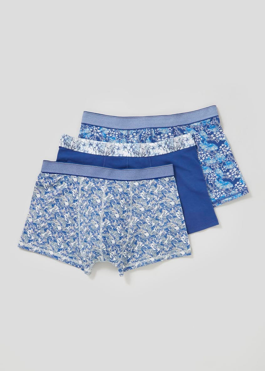3 Pack Floral Hipster Trunks