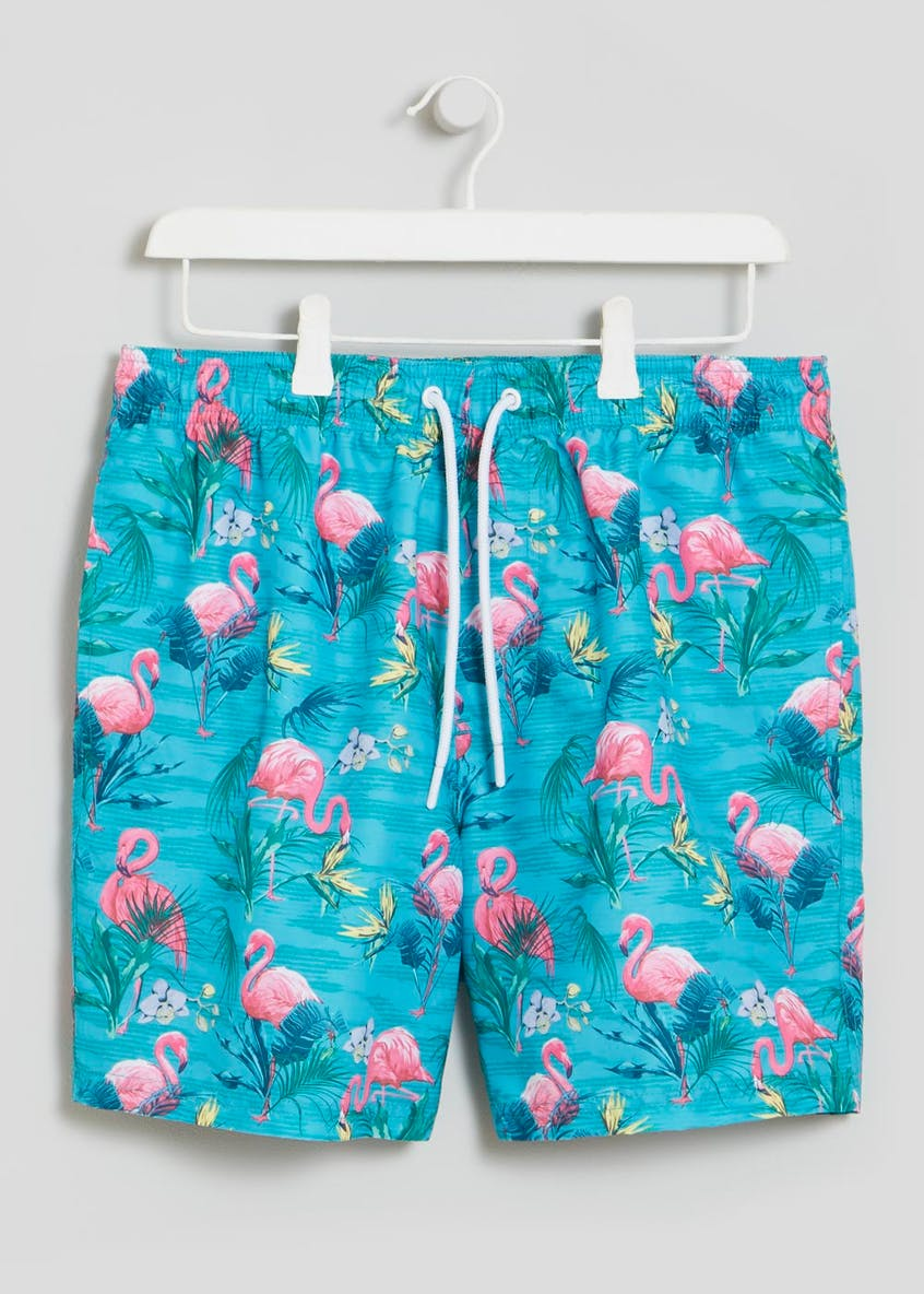 Mid Length Flamingo Swim Shorts