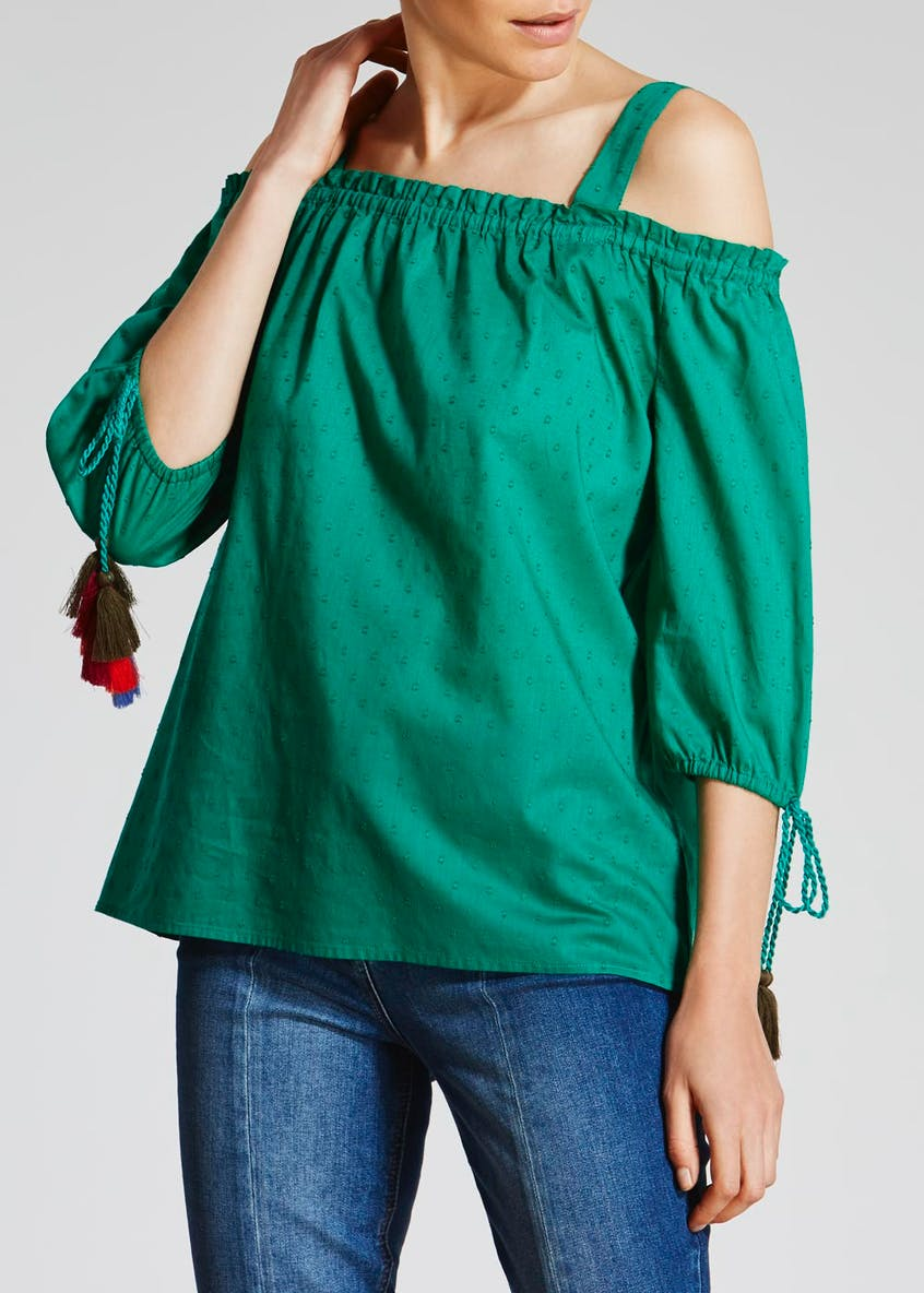 Tassel Cold Shoulder Blouse